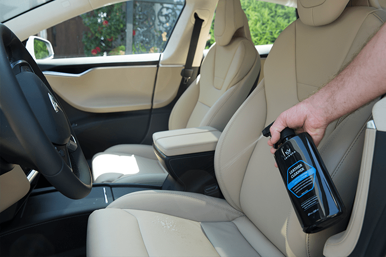 Cleaners for leather car seat